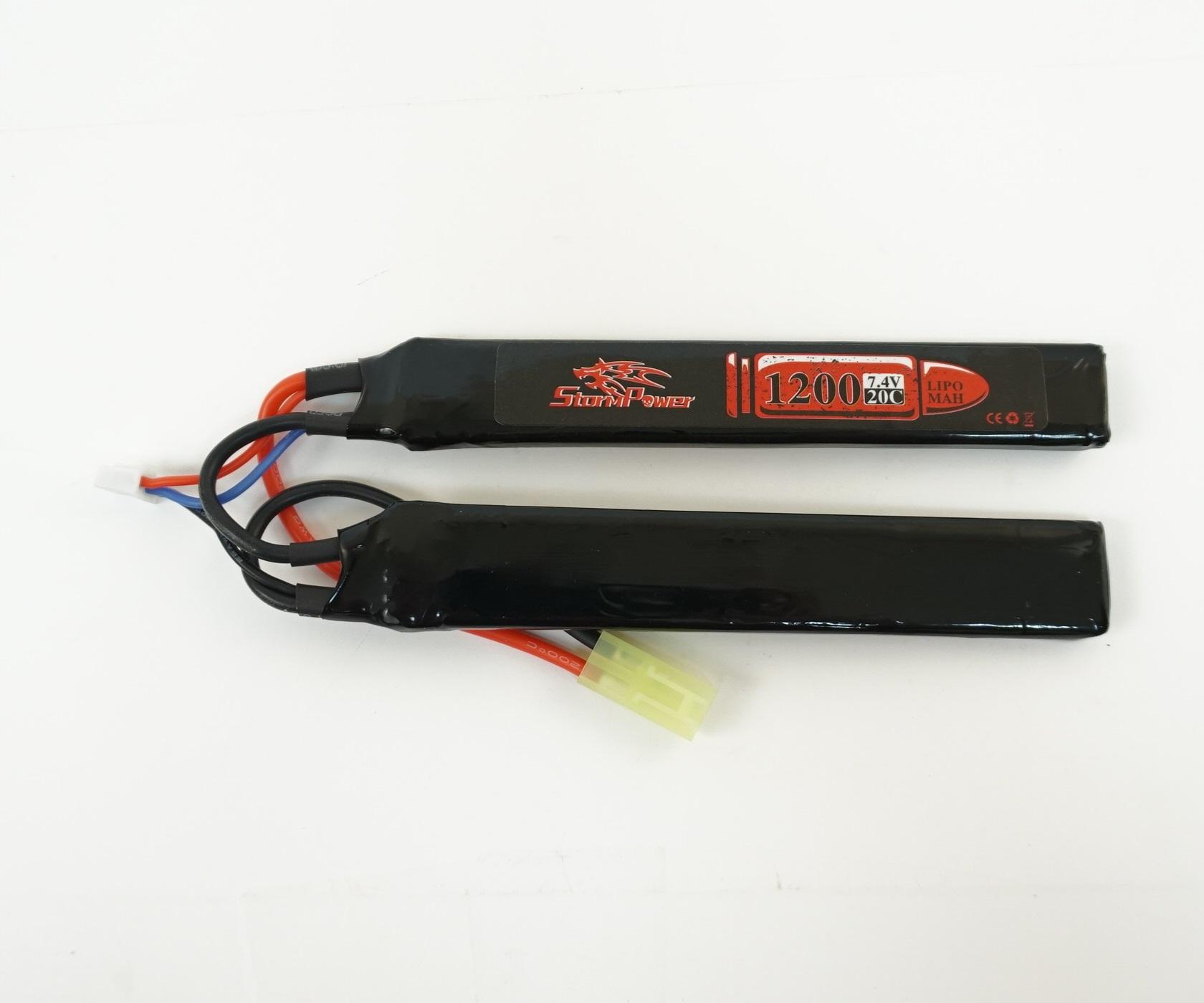 Аккумулятор Storm Power Li-Po 7.4V 1200mah 20C, 2 x (126x20x6) мм (SP-015)