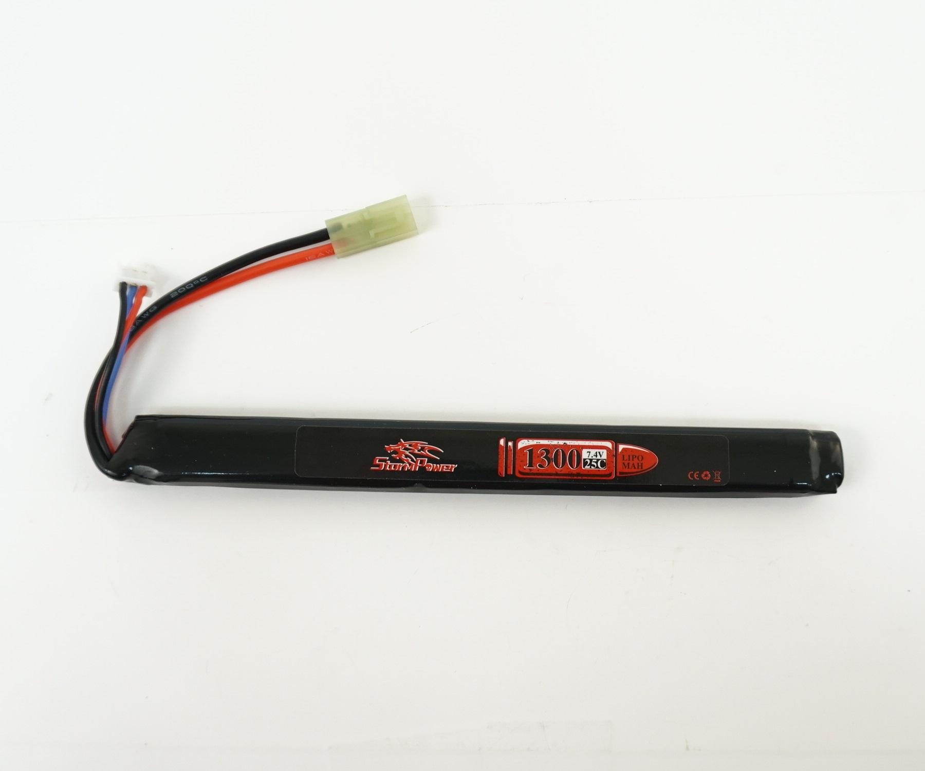 Аккумулятор Storm Power Li-Po 7.4V 1300mah 25C, 185x18x12 мм (SP-020)