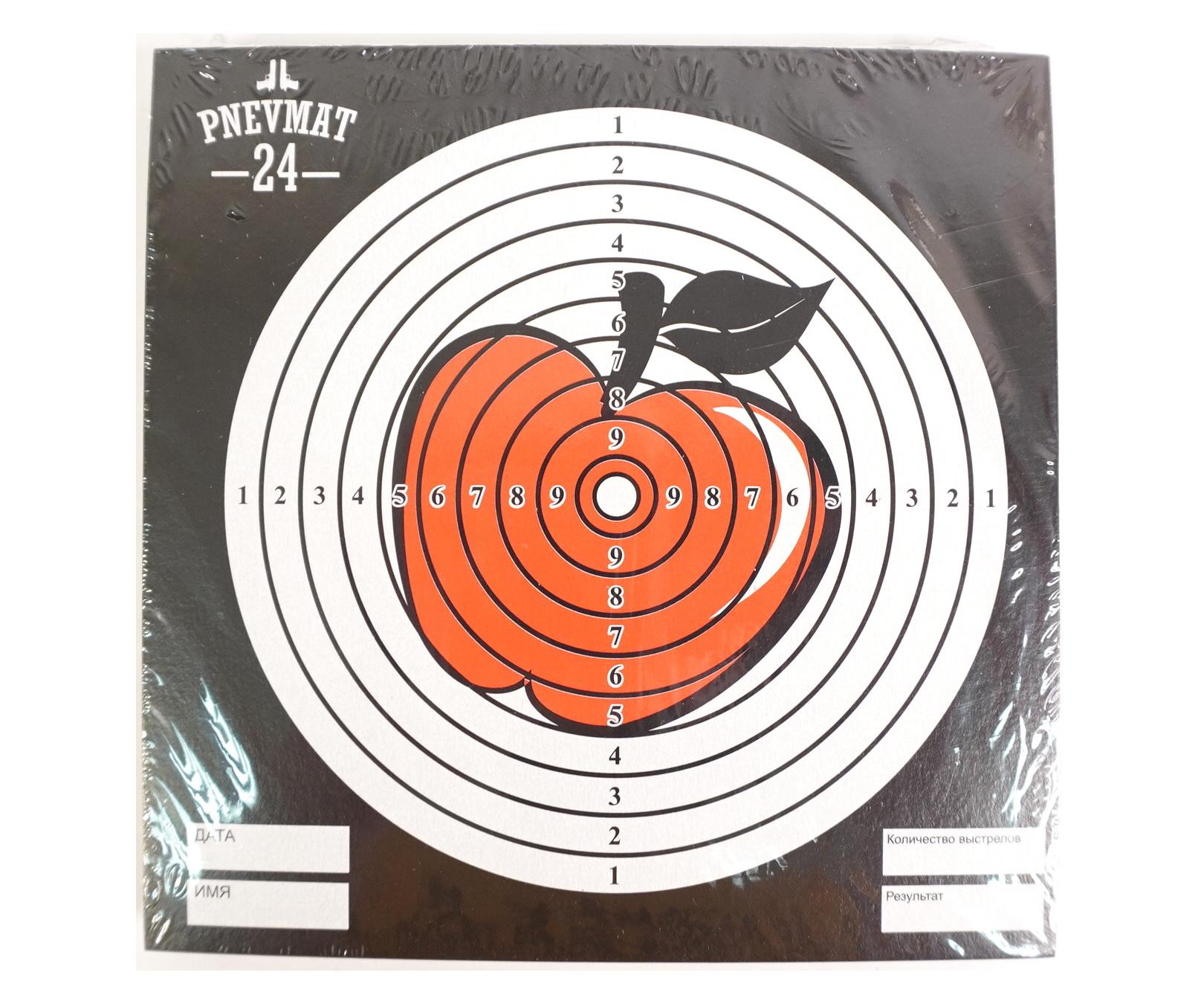 Мишени для пневматики P24 «Яблоко», 140x140 мм (50 штук)