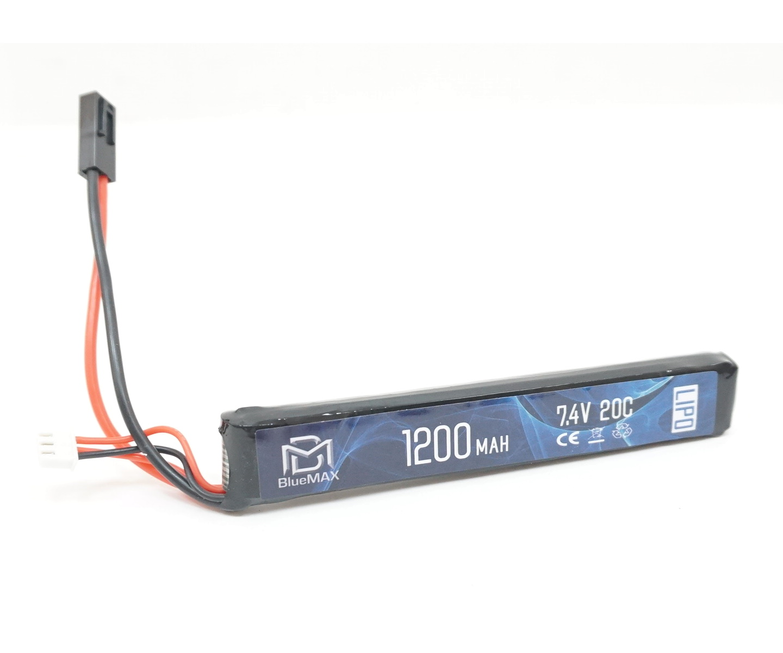 Аккумулятор BlueMAX Li-Po 7.4V 1200mah 20C, 128x21x13 мм (стик)
