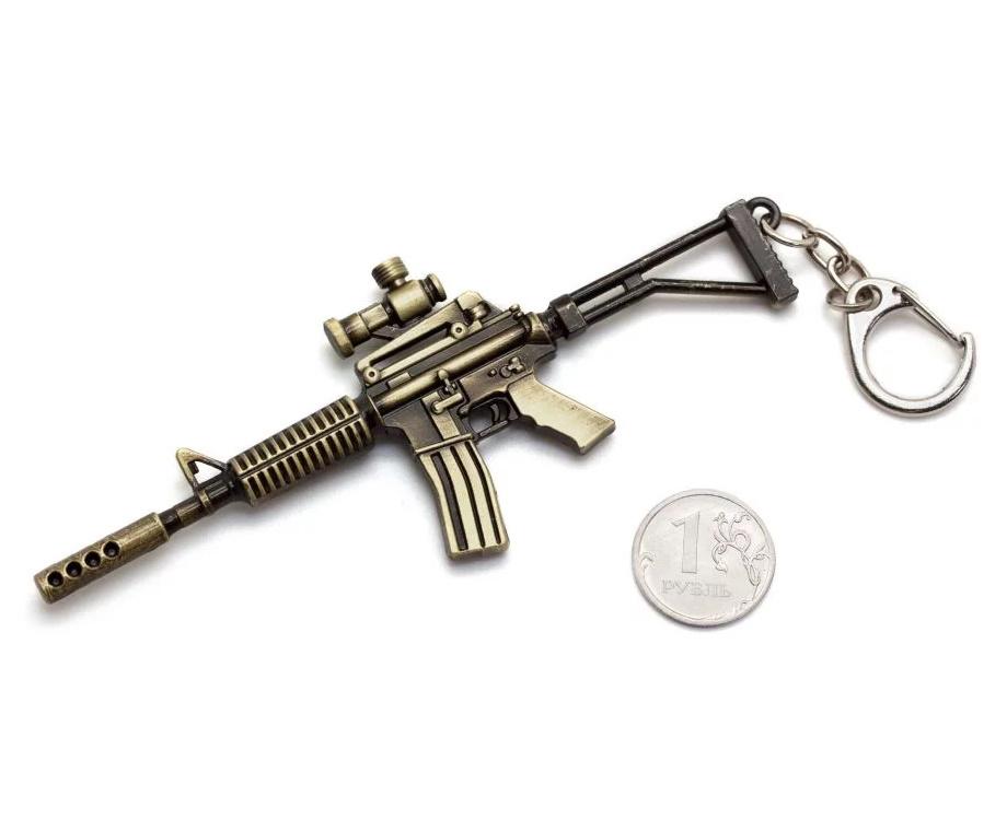 Брелок Microgun S автомат Colt M4A1 с оптическим прицелом (Gold edition)