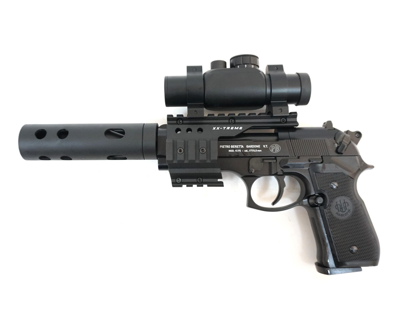 Пневматический пистолет Umarex Beretta M92 FS XX-TREME (глушитель, коллиматор)