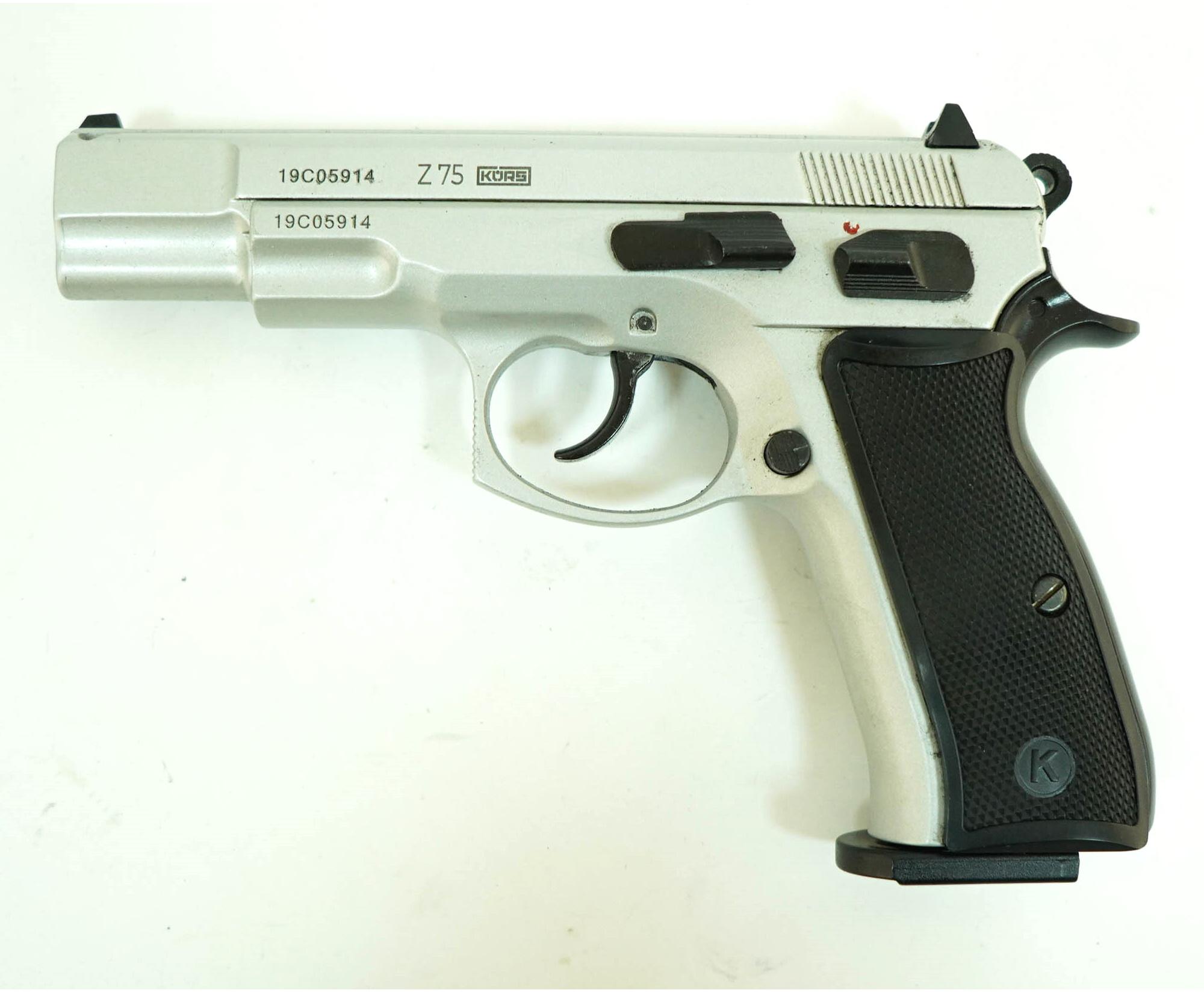 |Уценка| Охолощенный СХП пистолет Z75-СО Kurs (CZ 75) 10ТК, серебро (№ Z75-СО-67-уц)