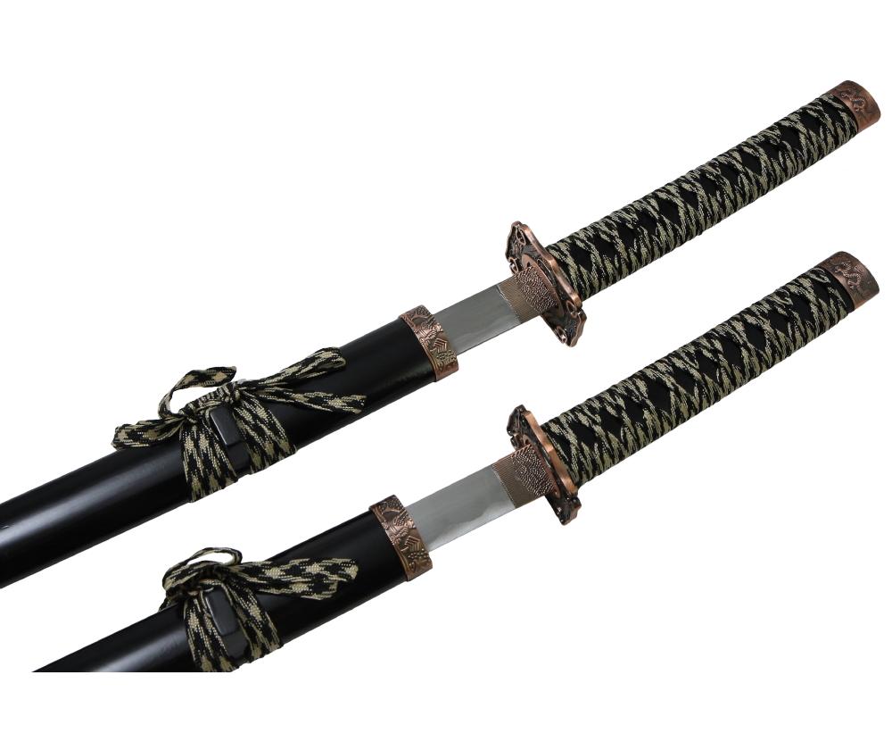 Самурайские мечи 2 шт. (ножны черные, медная цуба) D-50012-2-BK-KA-WA