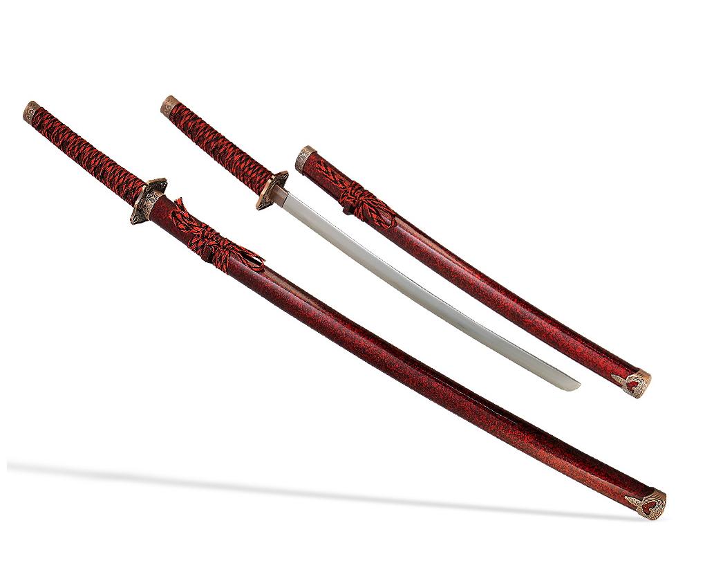 Самурайские мечи 2 шт. (ножны бордовые мрамор) D-50021-KA-WA